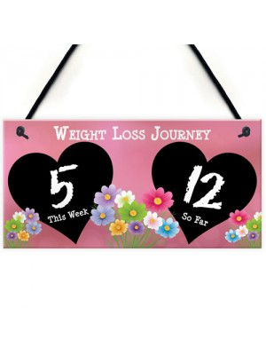 Weight Loss Tracker Chalkboard Journey Home Gift Hanging Plaque