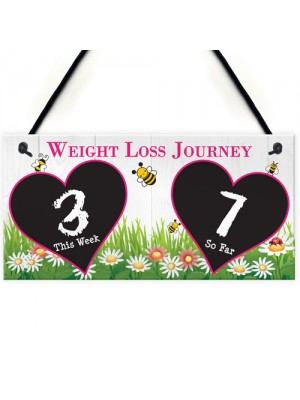Weight Loss Tracker Chalkboard Bees Journey Hanging Plaque