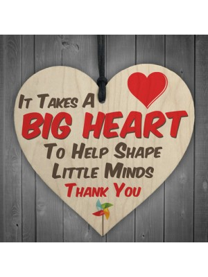 Big Heart Little Minds Thank You Teacher Gift Hanging Plaque