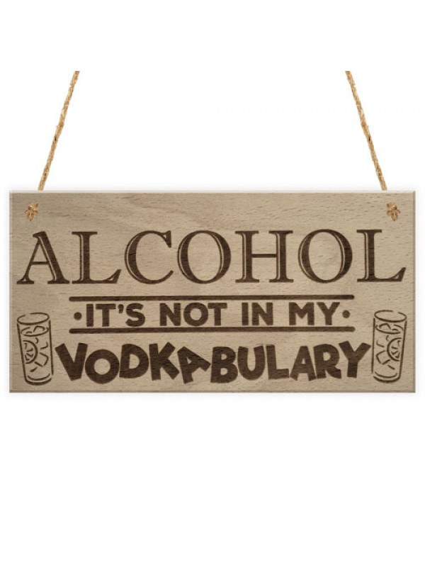 Alcohol Vodkabulary Funny Vodka Friendship Gift Hanging Plaque