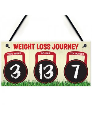 Weight Loss Journey Tracker Kettlebell Chalkboard Hanging Plaque