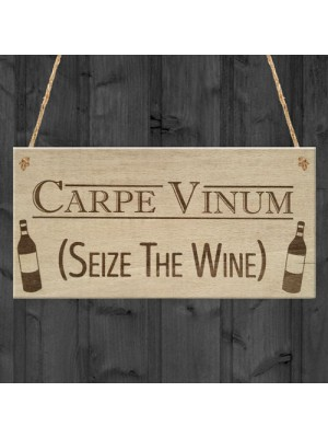 Carpe Vinum Wine Alcohol Funny Friendship Gift Hanging Plaque