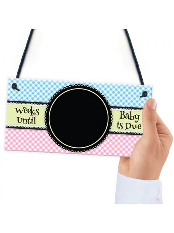 Baby Due Countdown Chalkboard Pregnancy Gift Hanging Plaque