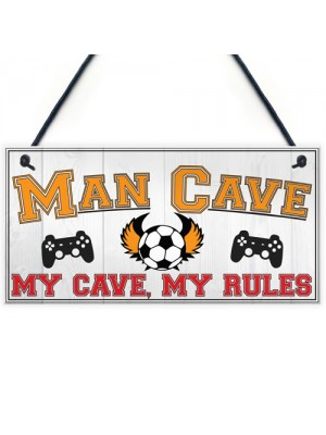 Man Cave Rules Gaming Shed Garage Funny Home Bar Hanging Plaque