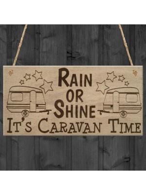 Caravan Time Camping Campervan Friendship Funny Hanging Plaque