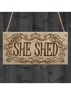 She Shed Woman Cave Garden Mum Sister Friendship Hanging Plaque