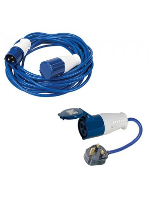 Silverline 14m Caravan Hook Up Cable 16A Lead & Mains Adaptor