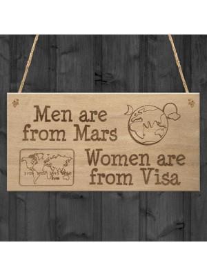 Men Mars Women Visa Funny Relationship Gift Hanging Plaque