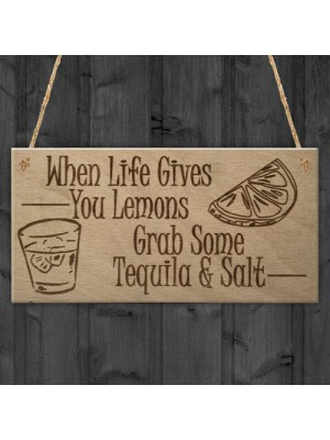 Lemons Tequila Man Cave Funny Home Bar Alcohol Hanging Plaque