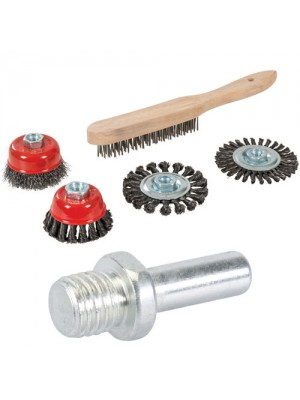 Silverline Wire Brush, Cup & Twist-Knot Wheel Set 5pce & Adaptor