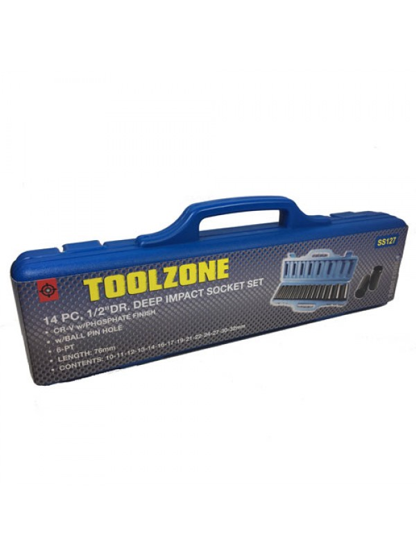 Toolzone 14Pc 1/2 Inch Deep Impact Sockets Metric Garage Set