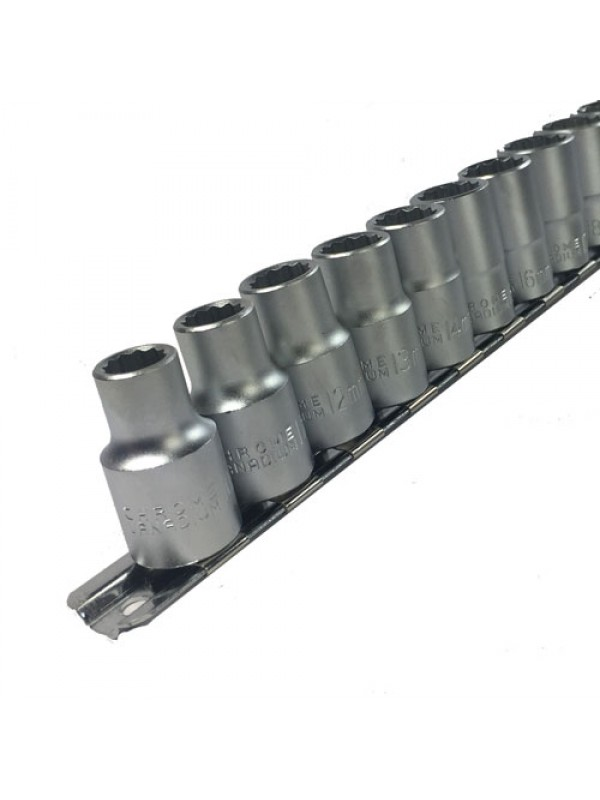 Toolzone 17Pc 1/2 Inch Shallow CRV Sockets On Rail