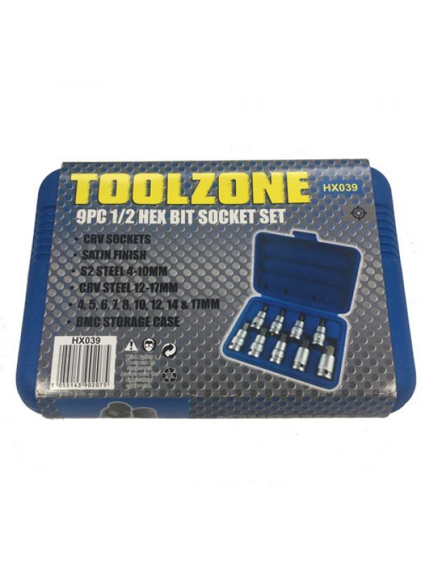 Toolzone 9Pc 1/2 Inch Hex Bit Set 4 - 17Mm