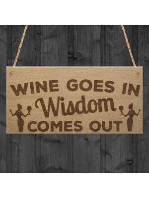 Wine In Wisdom Out Funny Friendship Best Friend Hanging Plaque