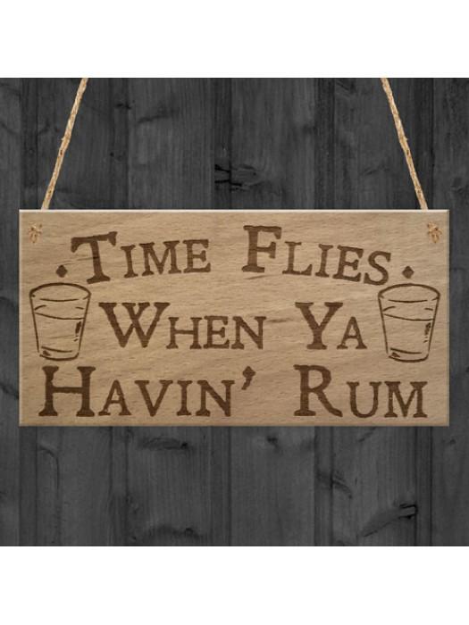 Havin Rum Funny Alcohol Man Cave Home Bar Pub Hanging Plaque