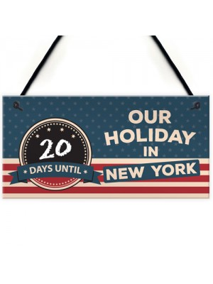 Countdown Holiday New York Chalkboard America Hanging Plaque
