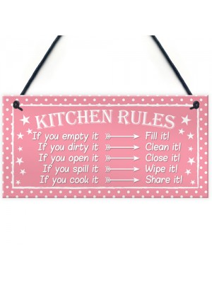 Kitchen Rules Polka Dot Funny Home Decorative Hanging Plaque