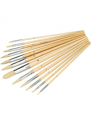 12 Piece Pointed Tipped Paint Brush Set Art Decorating Paint