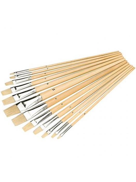 12 Piece Flat Tipped Paint Brush Set Art Decorating Paint Brush