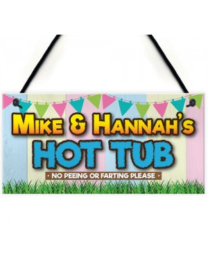 Personalised Hot Tub Rules Funny Jacuzzi Gift Hanging Plaque