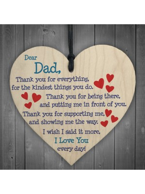 Dad I Love You Everyday Father's Day Gift Wooden Hanging Heart