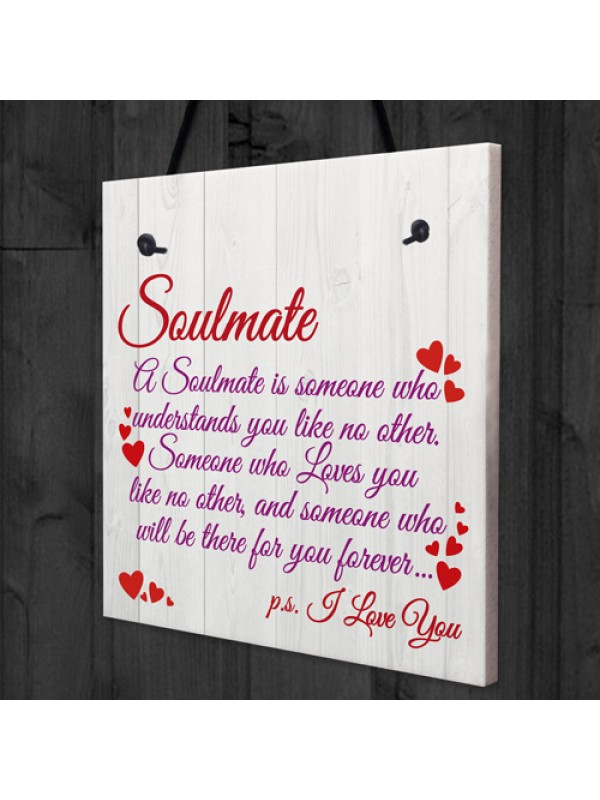 Soulmate I Love You Cute Christmas Gift Hanging Heart Plaque