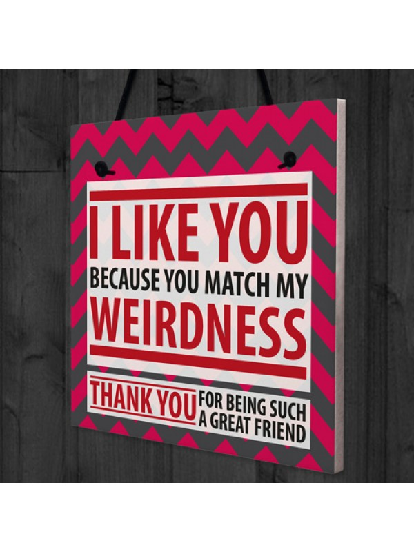 Match Weirdness Funny Friendship Christmas Gift Hanging Plaque