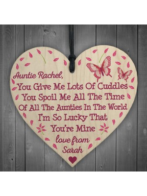 Personalised Best Auntie Poem Love Thank You Gift Hanging Plaque