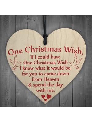 One Christmas Wish Tree Memorial Gift Memory Hanging Plaque