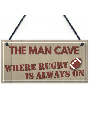 Man Cave Rugby Husband Home Bar Pub Sports Shed Hanging Plaque