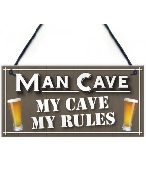 My Cave My Rules Man Cave Home Bar Pub Husband Hanging Plaque