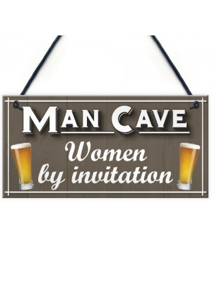 Man Cave Women Invitation Funny Door Home Bar Pub Hanging Plaque