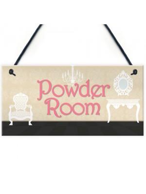 Powder Room Vintage Shabby French Chic Bathroom Hanging Plaque