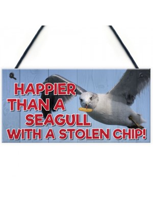 Happier Seagull Funny Nautical Seaside Theme Gift Hanging Plaque