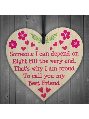 Depend On Best Friend Friendship Home Family Gift Hanging Plaque