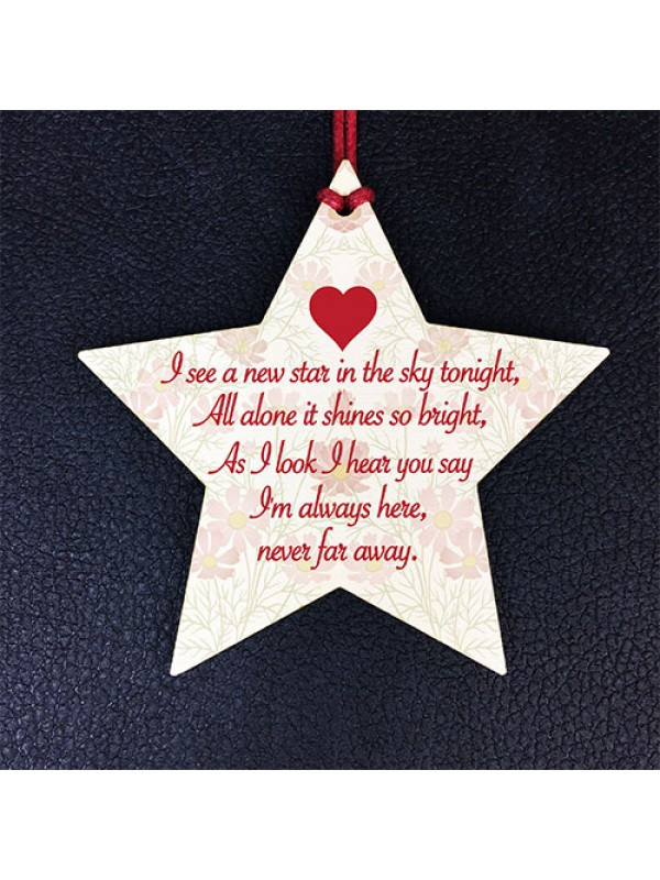 Star In The Sky Memorial Bereavement Grief Gift Hanging Plaque