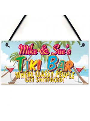 Personalised Tiki Bar Beach Cocktails Alcohol Hanging Plaque