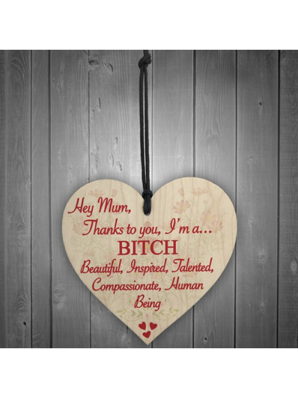 Mum Thanks To You Bitch Mothers Day Funny Gift Hanging Plaque