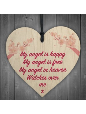 Angel In Heaven Memorial Bereavement Wood Heart Hanging Plaque