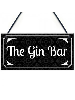 Vintage The Gin Bar Wall Plaque Home Bar Gift Man Cave Signs