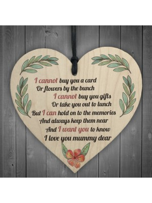 Mum Memorial Hanging Heart Love Sign Mothers Day Gifts Plaque