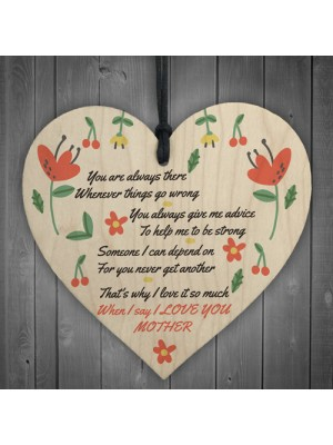 I Love You Mother Hanging Heart Sign Mothers Day Gifts
