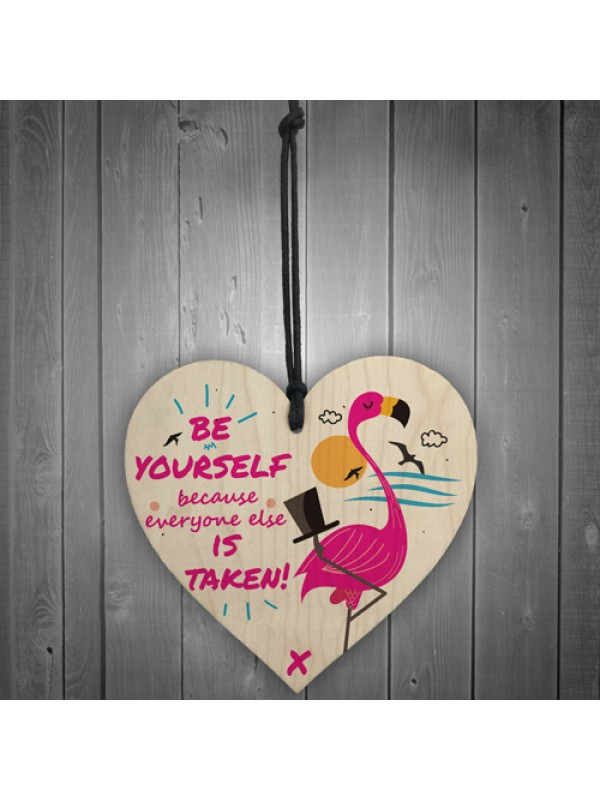 Be Yourself Hanging Wooden Heart Flamingo Party Gift For Women