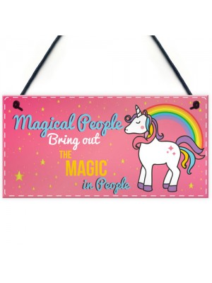 Magical People Unicorn Wall Pink Plaque Sign Gifts For Girls