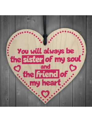 Friend Of My Heart Wooden Hanging Heart Friendship Sign Gift