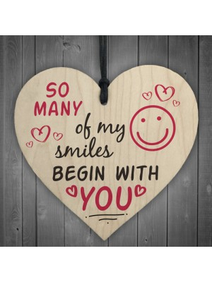 Smiles Begin With You Wooden Hanging Heart Sign Friendship Gifts