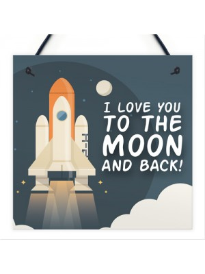Novelty Friendship To The Moon And Back Hanging Plaque BFF Gift