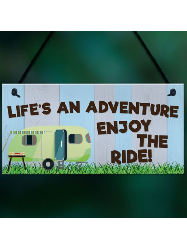 Lifes An Adventure Caravan Hanging Plaque Holiday Sign Chic Gift