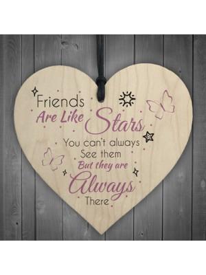 Friends Like Stars Friendship Sign Best Wooden Heart Plaque Gift