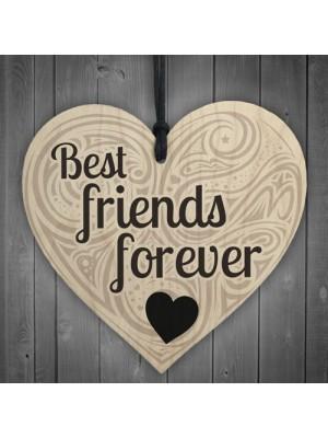Friendship Best Friends Forever Sign Hanging Wooden Shabby Heart